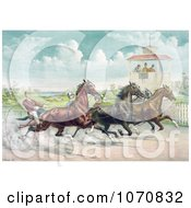 Illustration Of Judges In A Tower Watching A Close Race Between Four Horse Harness Racing Jockeys Royalty Free Historical Clip Art