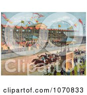 Illustration Of Excited Crowds Watching A Horse Race At The Brighton Beach Race Course In New Jersey Royalty Free Historical Clip Art by JVPD