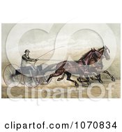 Illustration Of A Man John Murphy Holding A Whip While Driving Two Trotting Horses At The GentlemenS Driving Park In Morissania New York On July 13th 1882 Royalty Free Historical Clip Art by JVPD