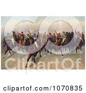 Illustration Of A Large Group Of 19 Competitive Jockeys Racing Forward Royalty Free Historical Clip Art