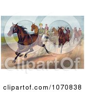 Illustration Of A Group Of Men Racing Horses With Dust Rising On The Track Royalty Free Historical Clip Art by JVPD #COLLC1070838-0002