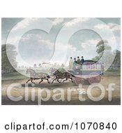 Illustration Of A Dog Running Alongside Men On The Unicorn Norwich Coach Royalty Free Historical Clip Art by JVPD