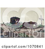 Illustration Of An Exhausted Horse Pulling Deacon Jones In A Carriage While A Man In A Horsedrawn Sulky Quickly Gains On Them In The Background Royalty Free Historical Clip Art by JVPD