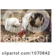 Illustration Of A Dog Watching A Jockey Kneeling And Praying For A Successful Race In A Horse Stable Royalty Free Historical Clip Art