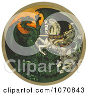 Illustration Of A Knight On A White Horse Battling A Green Dragon Royalty Free Historical Clip Art by JVPD