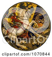 Illustration Of A Knight On A White Horse Battling A Dragon Under An Austro Hungarian Banner Royalty Free Historical Clip Art by JVPD
