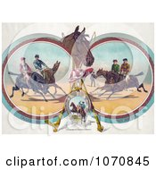 Illustration Of Four Racing Jockeys On Horseback In Three Different Scenes Royalty Free Historical Clip Art