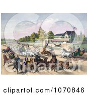 Illustration Of A Busy Street Scene Of Horses And Carriages On A Road Near A Building Royalty Free Historical Clip Art by JVPD