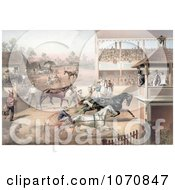 Illustration Of An Audience And Judges Watching A Horse Race Royalty Free Historical Clip Art by JVPD