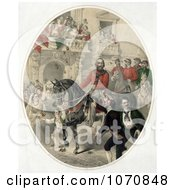 Illustration Of A Crowd Watching Giuseppe Garibaldi On Horseback In Naples Italy Royalty Free Historical Clip Art