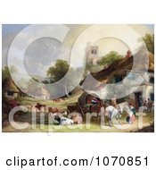 Illustration Of Cattle Horses People And Carriages At The Swan Inn Of A Village With A Castle In The Background Royalty Free Historical Clip Art