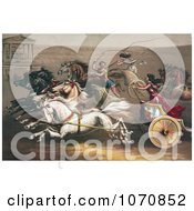 Illustration Of A Man And Two Women Racing Chariots Royalty Free Historical Clip Art by JVPD