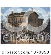 Illustration Of Abraham Lincoln On Horseback In Front Of His Home Being Greeting By Villages Upon The Return Of His Successful Campaign For The Presidency Royalty Free Historical Clip Art by JVPD