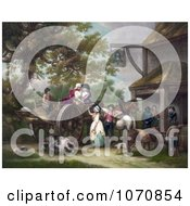 Illustration Of Horses Pigs And A Dog With People And A Cart In Front Of A Tavern Royalty Free Historical Clip Art by JVPD