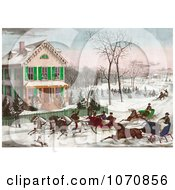 Illustration Of Four Horse Drawn Sleighs Racing Down A Street In Front Of A Home While People Watch Or Ice Skate In The Background Royalty Free Historical Clip Art by JVPD #COLLC1070856-0002