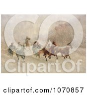 Illustration Of People Racing On Horse Drawn Sleighs On A Snowing Winter Day Royalty Free Historical Clip Art by JVPD