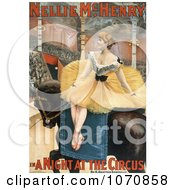 Illustration Of Nellie McHenry Seated Sideways On A Horse In A Night At The Circus Royalty Free Historical Clip Art by JVPD