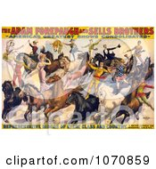 Illustration Of The Adam Forepaugh And Sells Brothers Performers Doing Stunts On Horses Royalty Free Historical Clip Art by JVPD