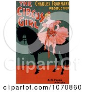Illustration Of A Blond Woman Sitting On A Black Horse In The Circus Girl By Charles Frohman Royalty Free Historical Clip Art by JVPD