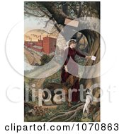Illustration Of A Woman In Horseback Riding Clothes Putting A Note In A Tree Her Dogs Beside Her And Horse And Mill In The Background Royalty Free Historical Clip Art by JVPD
