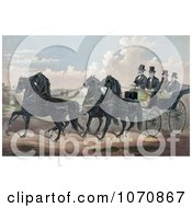Illustration Of A Man And His Three Sons In A Carriage Being Pulled By Four Beautiful Black Horses Royalty Free Historical Clip Art