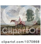 Illustration Of Two Men On Horseback Fox Hunting With Dogs Royalty Free Historical Clip Art by JVPD