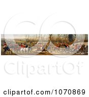 Illustration Of A Group Of Men On Horseback And Dogs Ready For A Fox Hunt Royalty Free Historical Clip Art by JVPD #COLLC1070869-0002
