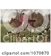 Illustration Of A Man Fox Hunting On Horseback Surrounded By Dogs Royalty Free Historical Clip Art by JVPD #COLLC1070870-0002