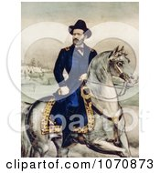 Historical Illustration Of Union Lieutenant General Ulysses S Grant On A White Horse Royalty Free Historical Clip Art by JVPD