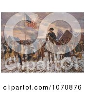 Illustration George Washington On Horseback At Valley Forge Royalty Free Historical Clip Art by JVPD
