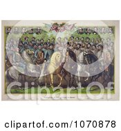 Illustration Prominent Union And Confederate Generals And Statesmen On Horses Royalty Free Historical Clip Art by JVPD