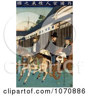 Illustration Of People In Japan Riding Carriages Royalty Free Historical Clip Art by JVPD