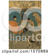 Illustration Of A Man In A Carriage A Dog Alongside Royalty Free Historical Clip Art