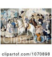 Illustration Of George Washingtons Entry Into New York On A White Horse 1783 Royalty Free Historical Clip Art by JVPD