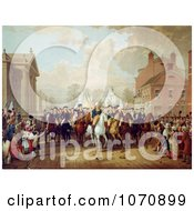 Illustration Of Evacuation Day During George Washingtons Triumphal Entry Into New York City 1783 Royalty Free Historical Clip Art
