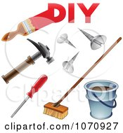 Clipart 3d DIY Home Improvement Icons Royalty Free Vector Illustration