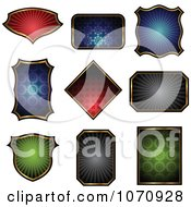 Clipart Patterned Shield Logos Royalty Free Vector Illustration by cidepix