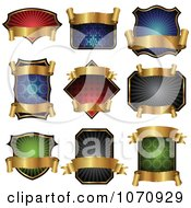 Clipart Gold Banner And Shield Logos Royalty Free Vector Illustration