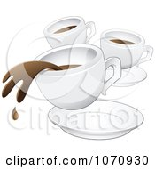 Clipart Spilling Cup Of Coffee And Two Other Mugs Royalty Free Vector Illustration by cidepix