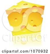 3d Wedge Of Cheddar Cheese And Reflection