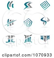 Clipart Blue And Gray Antique Styled Logos With Reflections Royalty Free Vector Illustration by cidepix