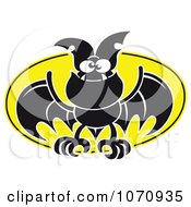 Clipart Flying Vampire Bat Against A Full Moon Royalty Free Vector Illustration