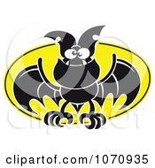 Flying Vampire Bat Against A Full Moon