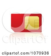 Clipart 3d Red And Gold Cell Phone SIM Card With A Reflection Royalty Free Vector Illustration