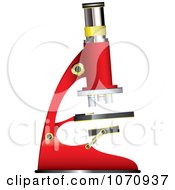 Clipart 3d Red Science Microscope Royalty Free Vector Illustration by michaeltravers