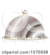 Clipart 3d Silver Serving Cloche Platter Royalty Free Vector Illustration