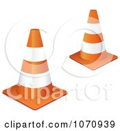 Clipart 3d Orange Road Construction Cones Royalty Free Vector Illustration