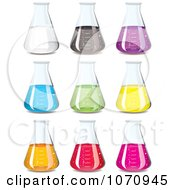 Clipart 3d Chemistry Science Flasks With Colorful Chemicals Royalty Free Vector Illustration
