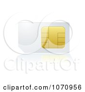 Clipart 3d White And Gold SIM Card Royalty Free Vector Illustration