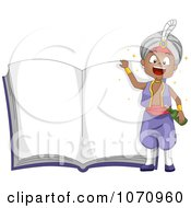 Clipart Genie Boy Over An Open Story Book Royalty Free Vector Illustration